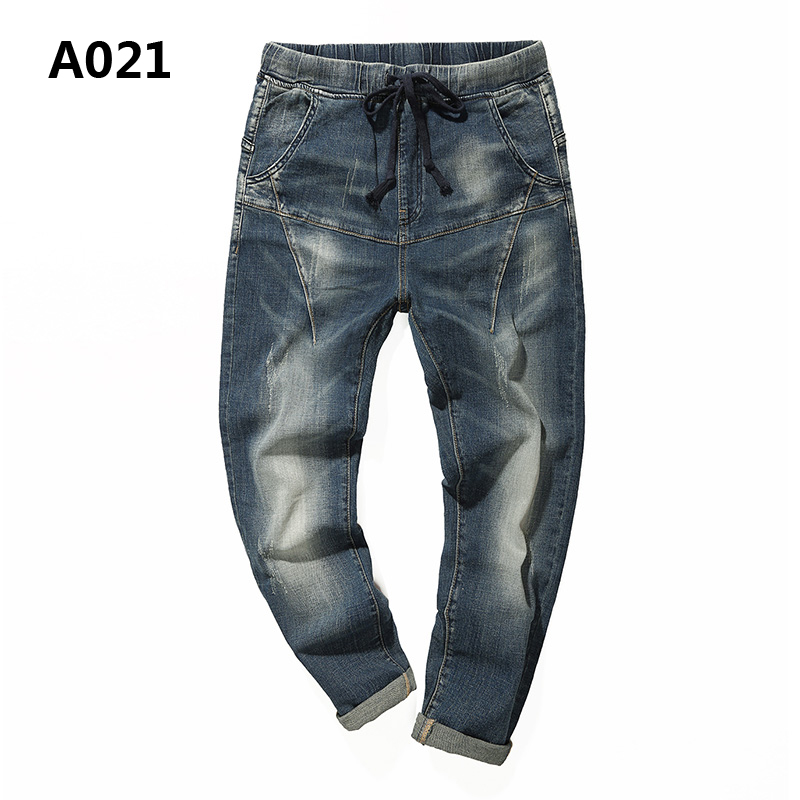 Brand Clothing Distressed Mens Harem Jeans Pants Casual Low Stripe Regular Fit Jeans Men Denim Solid Drawstring Trousers A021