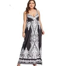 ROSE GAL Plus Size 5XL Arab Print Spaghetti Strap Boho Maxi Long Dress Women Big Size Sleeveless Ethnic Beach Dress Summer butterfly print spaghetti strap plus size flare dress