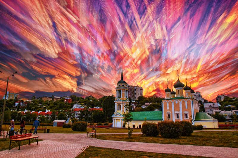 Блестящее небо в городе Искусство Ручная роспись креативная цифровая масляная пигментная краска кисть DIY живопись по номерам