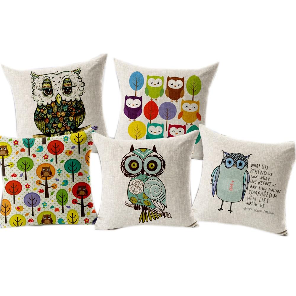 Moda animal búho lino/algodón Decoración para el hogar Cojines