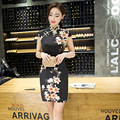 TIC-TEC chinese cheongsam short qipao slim print vintage oriental silk dresses women tradicional party weeding clothes P3089