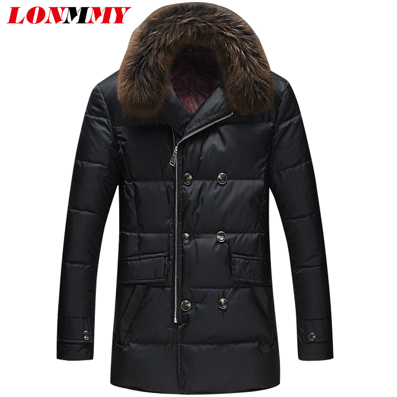 LONMMY 5XL Casual parka men thicken winter jacket Fur collar Double breasted White duck down jacket Fashion Black Khaki 2017 бриджи венейя бриджи