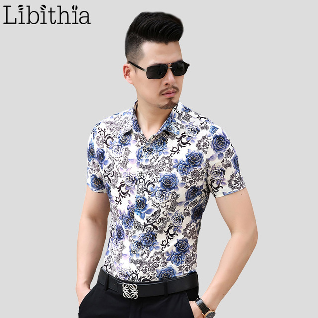 Mens Luxury Cotton Shirts Slim Fit Floral Shirt Big Size M-7XL Short Sleeve Casual Summer Social Dress Shirts Chemise Homme S249
