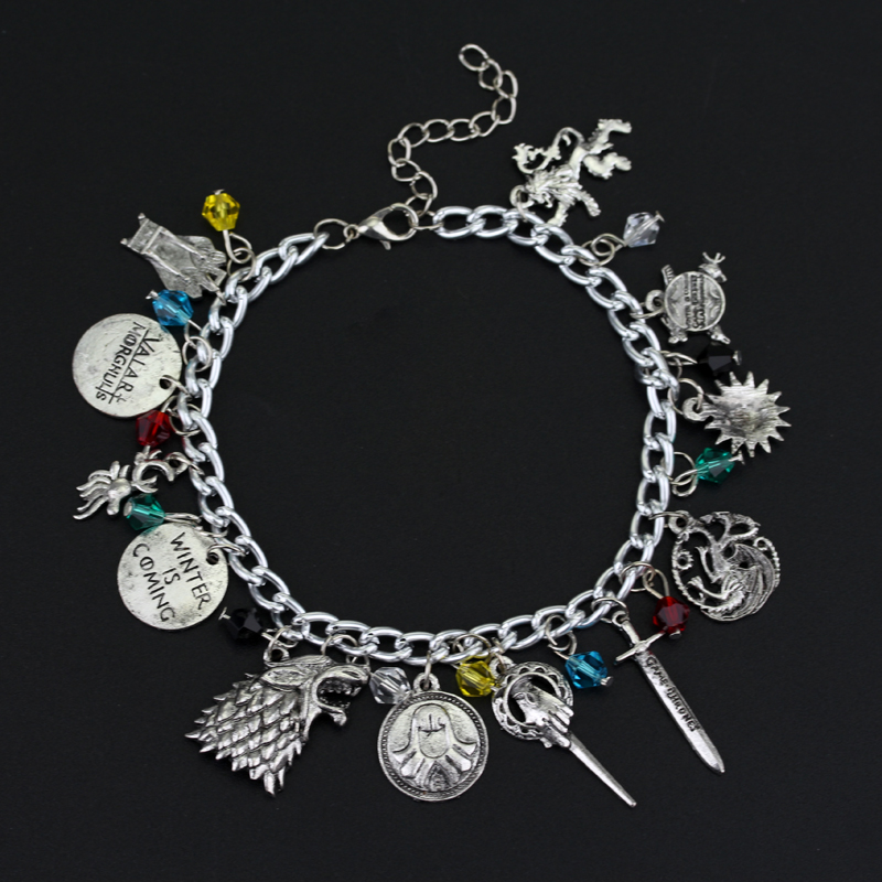 Game Of Thrones Supernatural the Walking Dead Once Upon A Time Percy Jackson Star Wars TV Series Silvertone Charm Bracelet