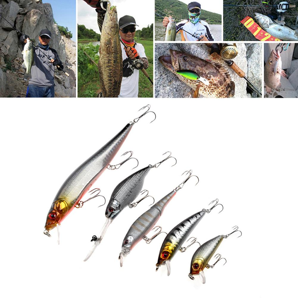 NEW 5Pcs Fishing Lures Set Minnows Bait Artificial Crankbaits Sharp Fishing Tackle
