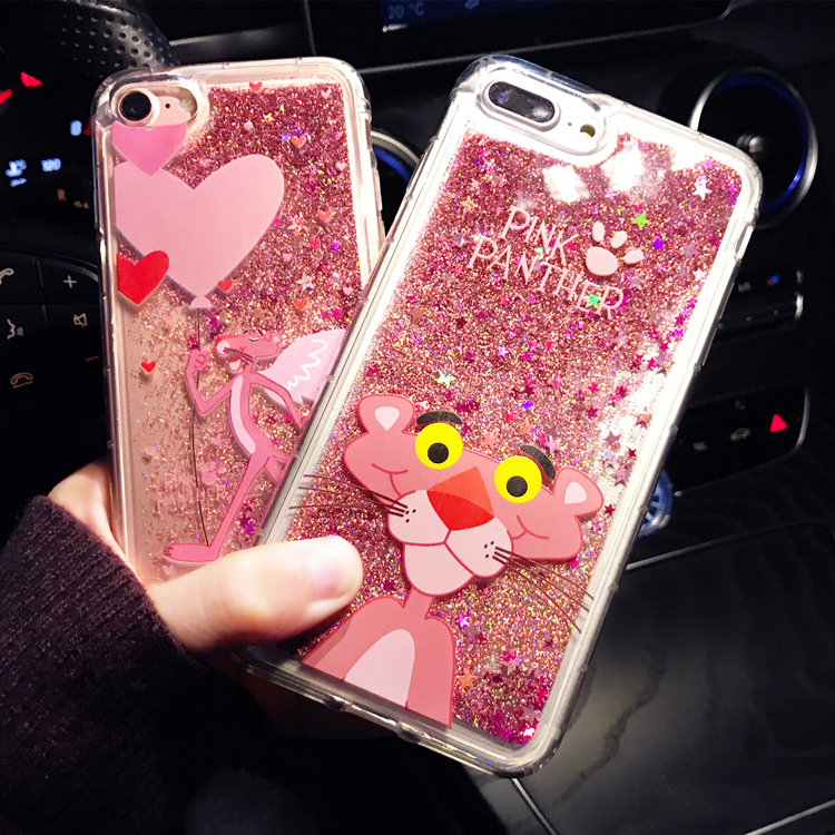 Cute Cartoon Pink Panther Animals Phone Case For Iphone 6 6s Plus Cases Liquid Quicksand Glitter Case for Iphone 7 8 Plus Cases