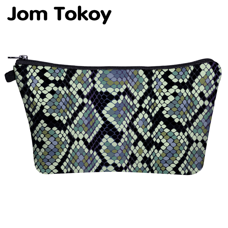 Jom Tokoy Makeup Bag Printing Serpentine Beautiful Cosmetic Bag Organizer Bag Women Beauty Bag