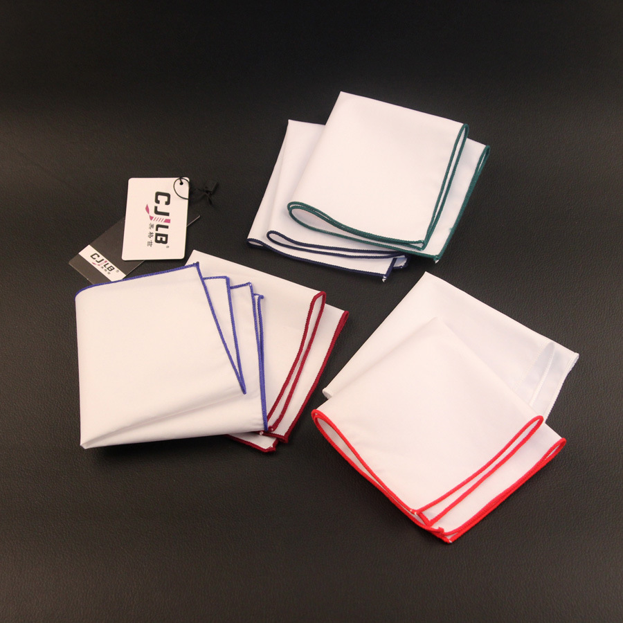 New Korean Fashion Designer High Quality Pocket Squares Handkerchiefs Mens White Cotton 24x24cm 10pcs/lot