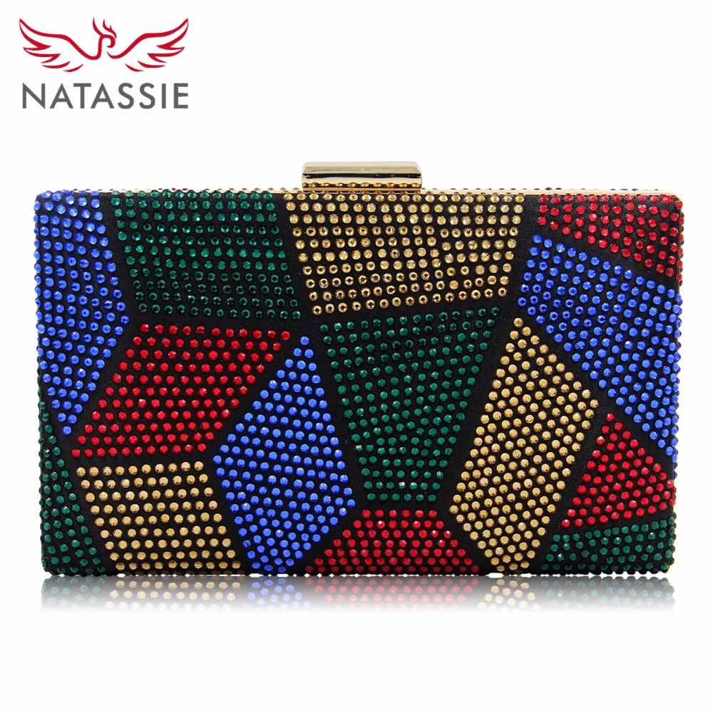 Natassie New Design Women Evening Bags Two Side Crystal Party Bag Hot-fix Clutch Charmeuse Wedding Purse Female Clutches two side diamond crystal evening bags fashion clutch handbag hot styling day clutches lady wedding woman bag new smyzh f0279