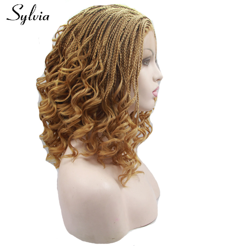 Sylvia natural blonde braided box braids synthetic lace front wigs with tips glueless braiding heat resistant fiber hair ...
