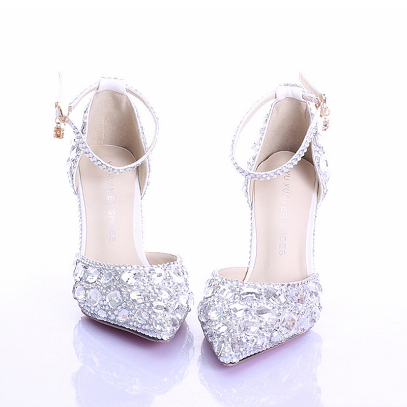 ... Feedback Questions about Women Sandals Rhinestones Crystal Wedding Heels  With Buckle Ankle Strap Evening Party Pointed Toe Beautiful Comfortable  Shoes ... ac8811d0a54a