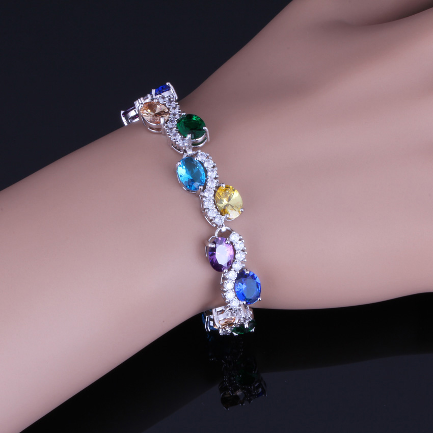 Impressive Oval Egg Multigem Multicolor Yellow Cubic Zirconia 925 Sterling Silver Link Chain Bracelet 18cm 20cm For Women V0054 in Bangles from Jewelry Accessories