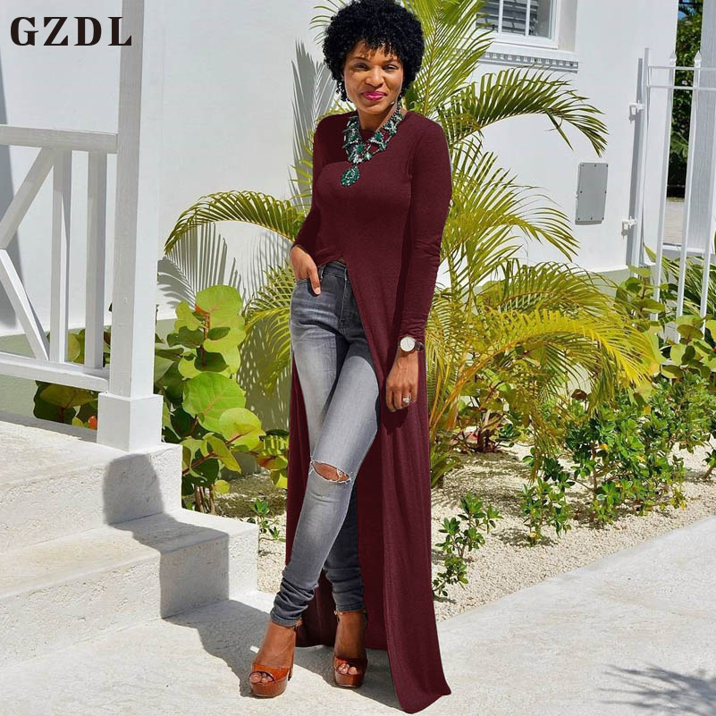 GZDL Autumn Winter Casual Women Clothing Long Blouse Slit Front O Neck Full Sleeve Solid Shirts