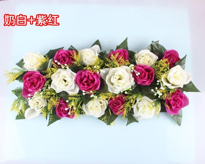 Свадебная композиция Свадебные Искусственные Свадебные шелковые розы арки цветочное свадебное украшение ряд цветов рамка с цветами 10 шт./партия - Цвет: FD08