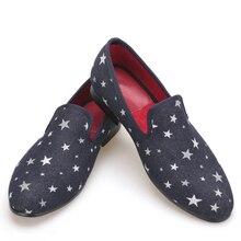 Мужские модельные туфли новая мода Звезда мужские лоферы темно-синий плюс размер apatos Hombre оксфорды мужские бархатные лоферы