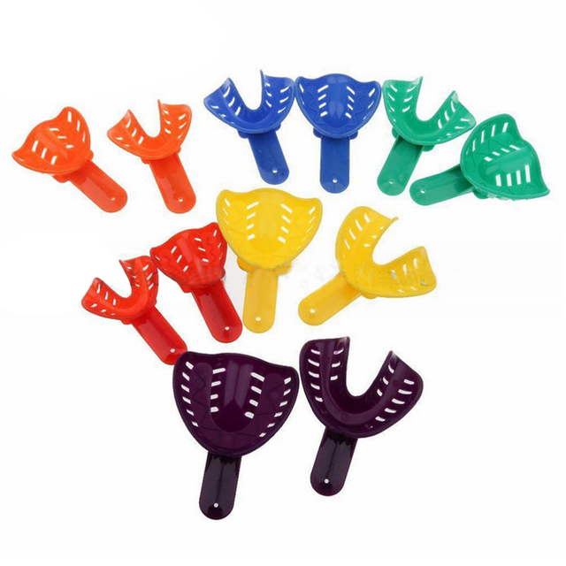 12pcs Color Dental Materials Plastic Impression Trays for Adult and Children As Shown In Picture