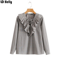 LD Helly Plaid Cute Bandage Ruffle Front Blouse Tops 2018 Women Long Sleeve Spring Tops Ladies