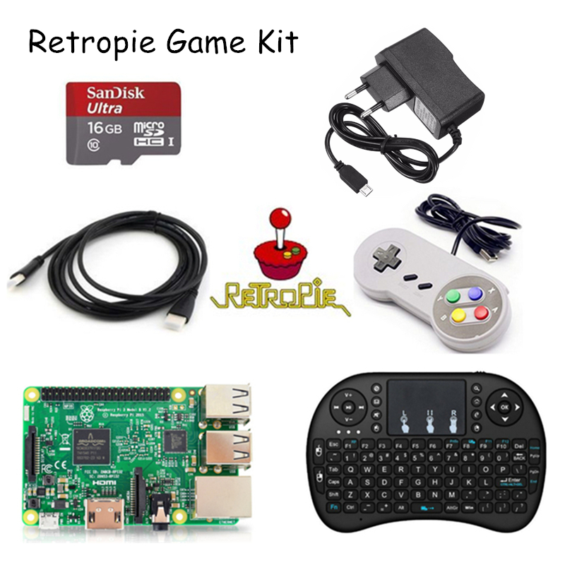 Raspberry Pi 3 Model B & 16GB Card & HDMI Cable & Keyboard & Game pad &5V 2.5A Charger Retropie Game Kit for Nespi Case