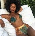 2017 Nova Africano Geométrica Impressão Two-Pieces Fatos De Banho Bikini Set Sexy Swimwear Maiô de Ouro Cintura Alta Terno de Natação