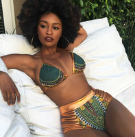 2017 New African Print Two Pieces Bath Suits Bikini Set Sexy Geometric Swimwear Swimsuit Gold High