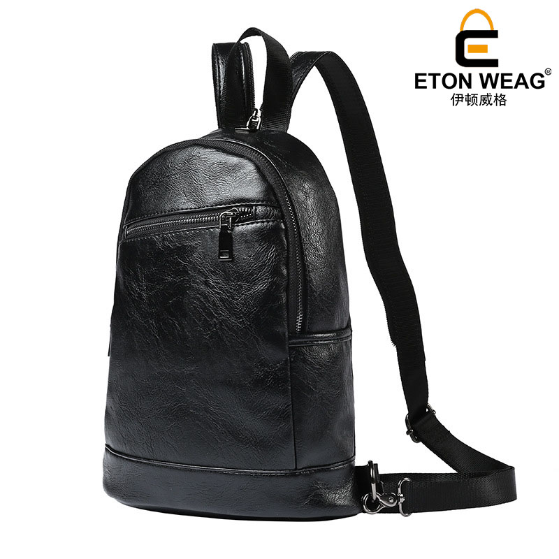 ETONWEAG New 2017 women brands cow leather black zipper organizer laptop bags preppy style backpacks vintage