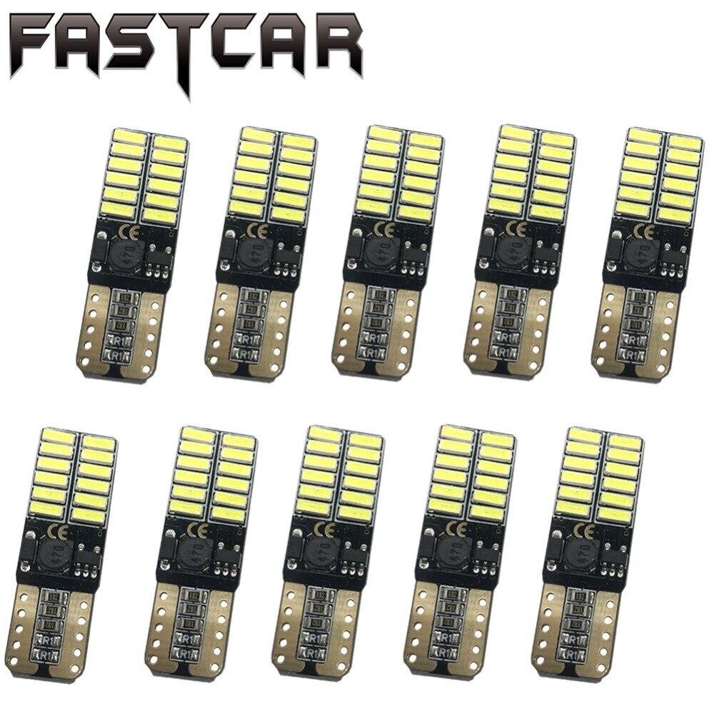 10x 12V 24V No polarity Canbus T10 LED bulbs with 4014SMD 24 leds Interior Light 194 168 W5W LED LAMP white blue NO OBC ERROR