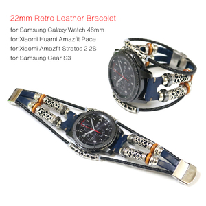 Image 1 - Genuine Leather Strap for Xiaomi Huami Amazfit Pace Smart Watch Band Bracelet for Amazfit Stratos 2 2S Strap 22mm Watch Band