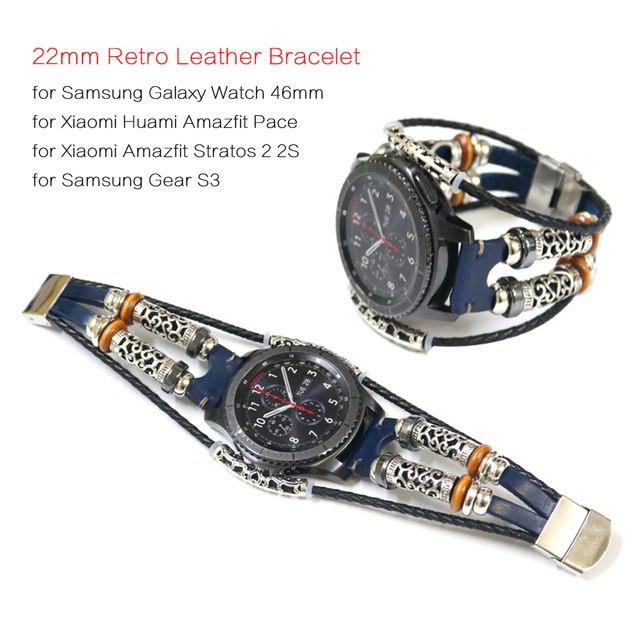 Genuine Leather Strap for Xiaomi Huami Amazfit Pace Smart Watch Band Bracelet for Amazfit Stratos 2 2S Strap 22mm Watch Band
