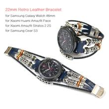 Pulseira de couro genuíno para xiaomi huami amazfit ritmo pulseira de relógio inteligente para amazfit stratos 2 2s cinta 22mm faixa de relógio