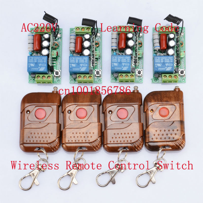 220V 1CH RF Wireless Remote Switch 1Receiver&T1ransmitter Light Lamp LED SMD ON OFF Switch10A Relay Momenrary Toggle 4pcs/lot dc12v rf wireless switch wireless remote control system1transmitter 6receiver10a 1ch toggle momentary latched learning code