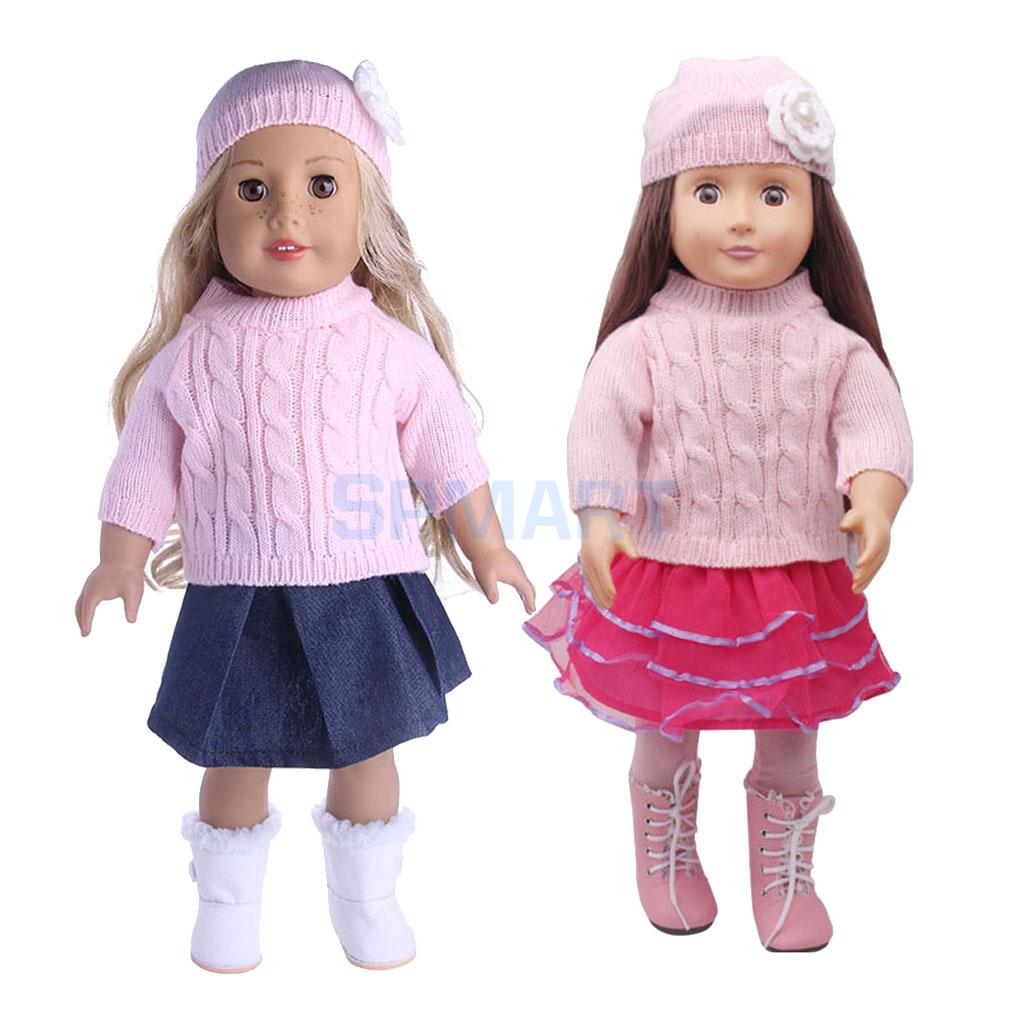 7 pieces Sweaters Suit Clothes for 18 American Girl Doll Our Generation Doll Dress Skirt Legging Outfit with Hat