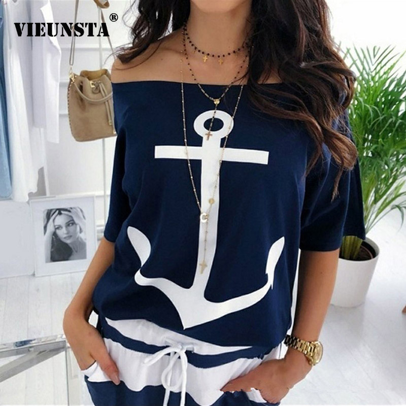 VIEUNSTA Sexy Slash Neck Print   Blouse     Shirt   Women Summer Off Shoulder Batwing Sleeve Casual Tops Plus Size Loose Blusas Feminina