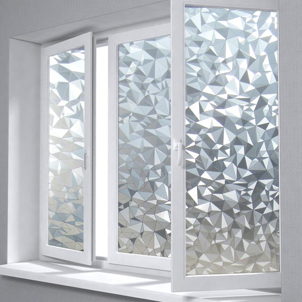 75cm by 200cm Polygon Shape Opaque Static Glass Window Film Privacy Decorative Self-adhesive Glass Door Window Film Sticker