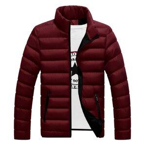 Image 2 - VISADA JAUNA 2019 남성 다운 코튼 자켓 코트 솔리드 컬러 브랜드 와일드 패딩 가을 겨울 남성 패션 빅 사이즈 6XL N5107