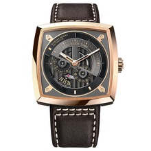 Agelocer New Design Luxury Automatic Watches for Men Rose Gold Waterproof Watches Leather Strap Relogio Masculino 5603D2