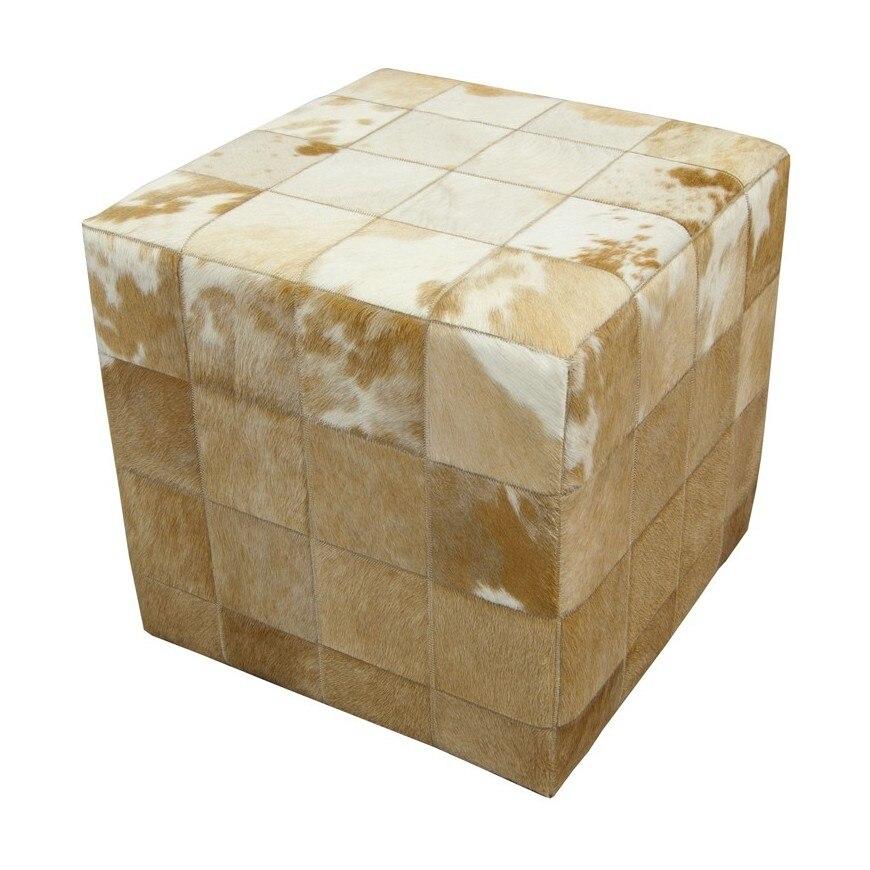 cowhide cube white beige hides ottoman & stoolscowhide cube white beige hides ottoman & stools