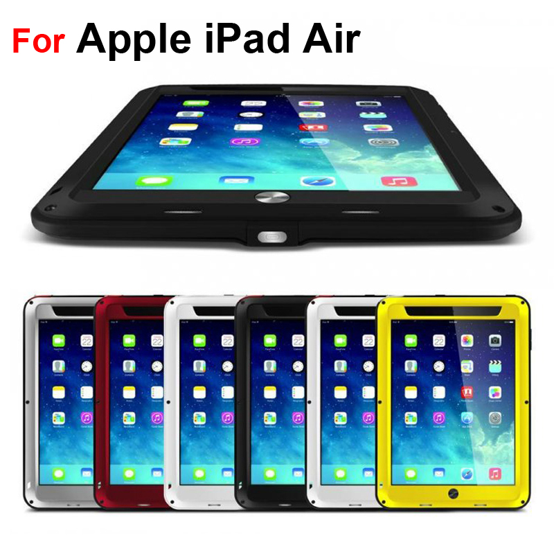 Dirt-resistant Anti-knock Metal Aluminum Tablet Cases with Gorilla Glass for Apple iPad Air Heavy Duty Protect Tablet PC Cases
