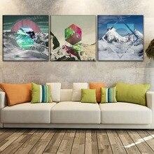 Canvas Print Painting Artwork 3Pcs/1Pcs Abstract Polyscape Landscape Geometric Poster Modern Wall Art Home Decorative Framework 41xdzs 490 491 492 3pcs fashion abstract print art