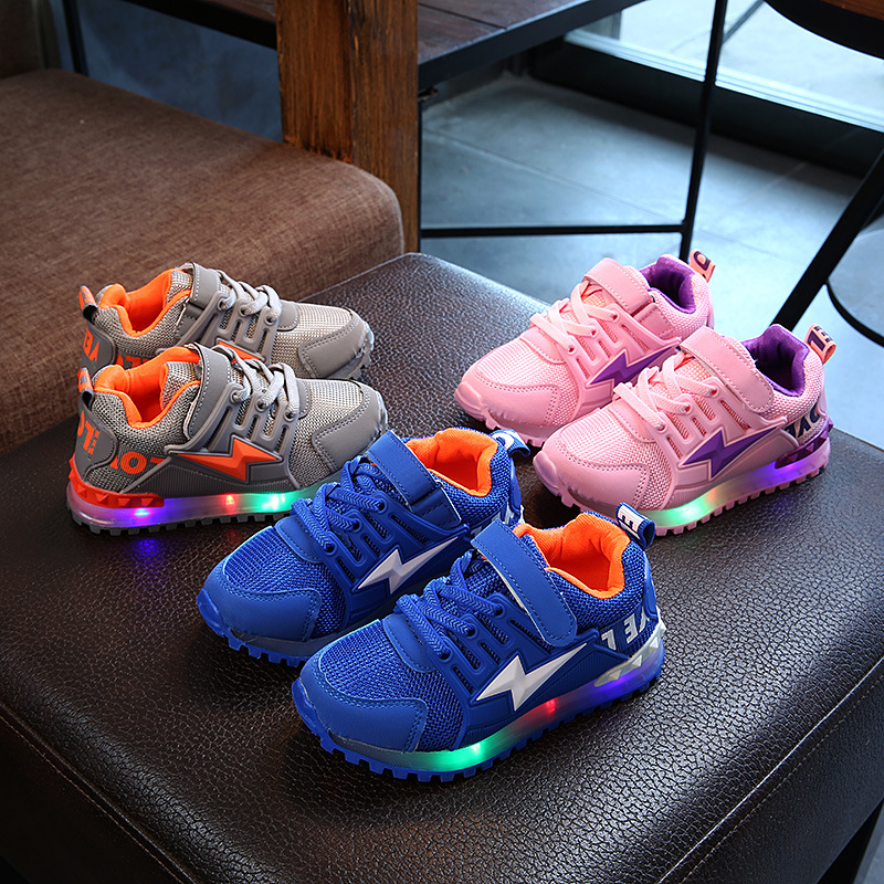 2019 New Fashion Toddler Baby Girls Boys LED Light Luminous Shoes Soft Sole Sport Sneaker Shoes Walking Shoes