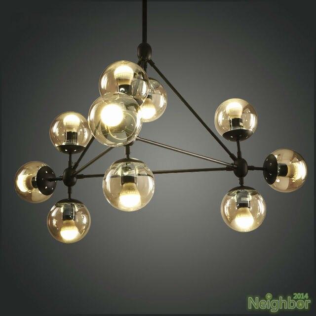 Nouveau moderne industrielle modo suspension lustre boule de verre plafond éclairage salon salon salle à manger