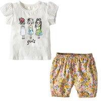 2018 crianças do bebê da menina do algodão verão t camisas curtas definidos 18M-3A design engraçado da criança da menina vestido branco t shirts tops tees
