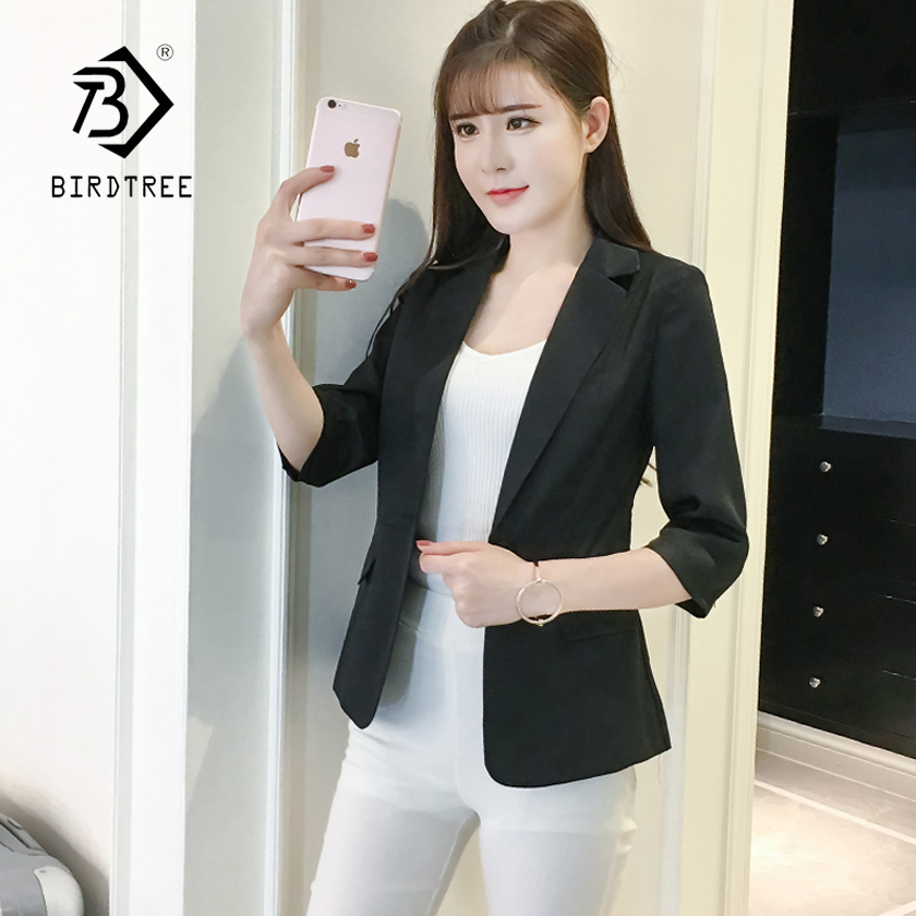 New Arrival Womens Classical Solid Notched Single Button Slim Short Blazer Office Lady Fashion Top Plus Size Hots C86506F