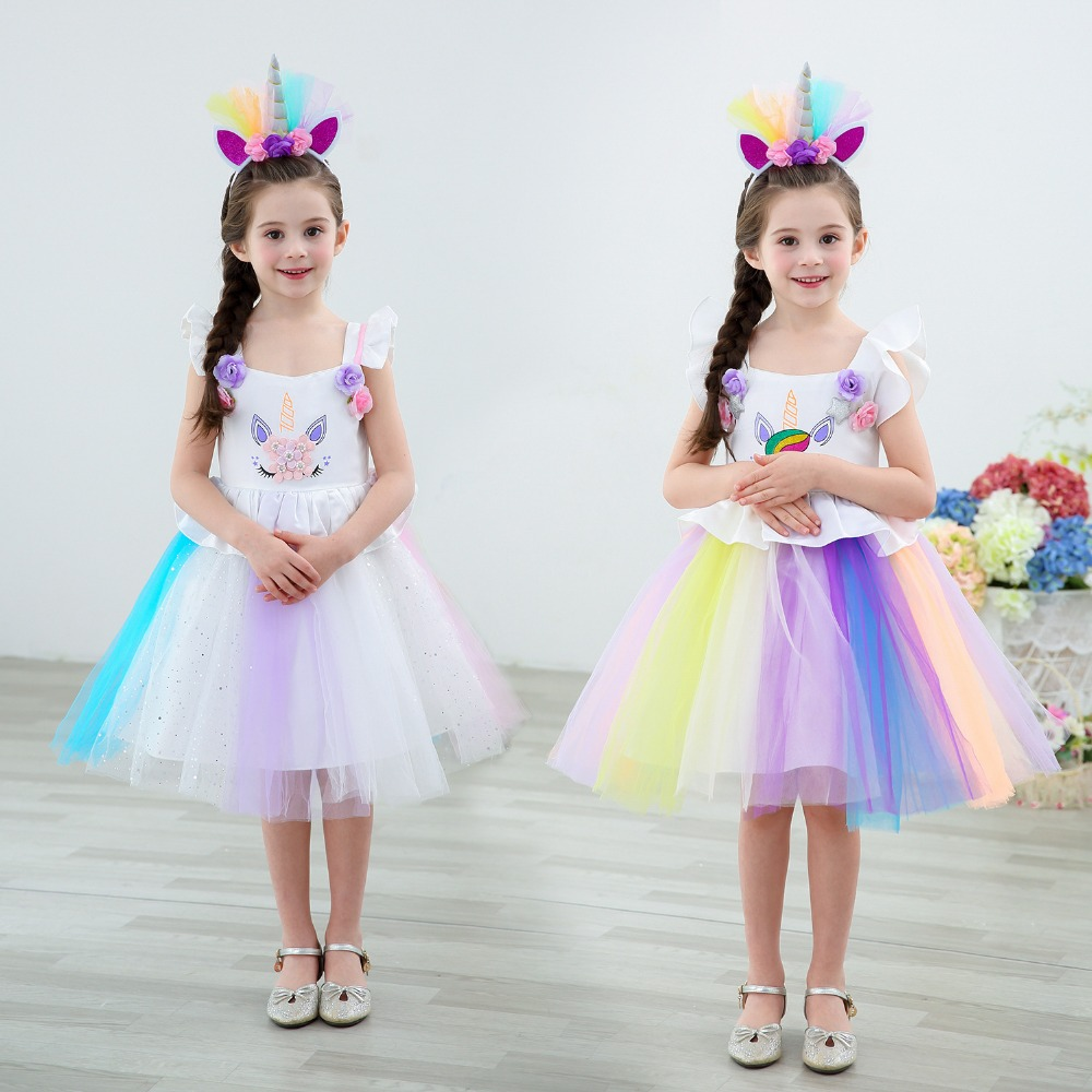 2019 Girls Unicorn Princess Dress Rainbow Girls Unicorn Dress Toddler Kids Party Purim Carnival Costume For Kids Mesh Lace Dress