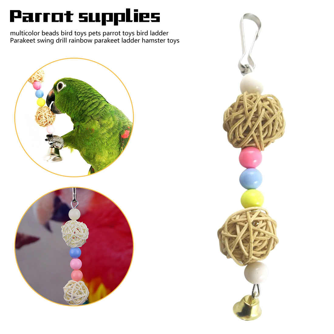 Bird Bells Toy Beautiful Sound for Parrot African Greys