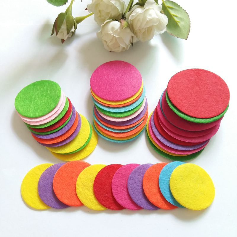 200pcs/lot Appliqued DIY 3.5-5cm Round Felt Fabric Pads Accessory Patches Circle Fabric for flower/hat/handbag/clothe/craft