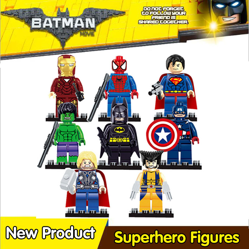 SuperHeroes Building Blocks Batman Iron Man Robin Hulk Spiderman Ninjago Master Wu Compatible With mini LegoINGly Ninja figures 2018 hot ninjago building blocks toys compatible legoingly ninja master wu nya mini bricks figures for kids gifts free shipping