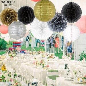 Image 3 - 8 ピース/セットラウンド中国提灯ゴールドシルバーティッシュペーパーハニカムボール結婚式花の誕生日パーティーハンギングデコレーション