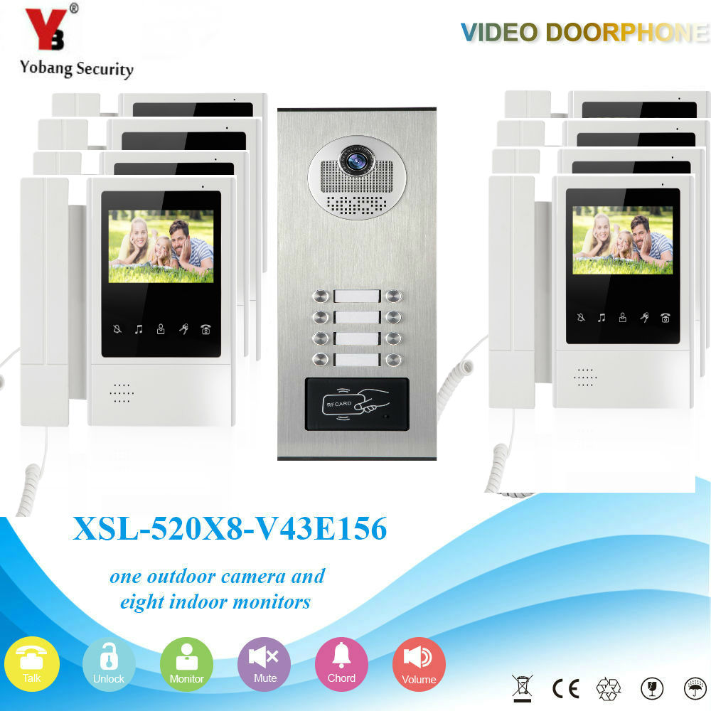 YobangSecurity Video Intercom 4.3 Inch Video Door Phone Doorbell Camera Monitor System RFID Access Control For 8 Unit Apartment yobangsecurity villa apartment eye door bell 7tft lcd color video door phone doorbell intercom system 1 camera 6 monitor