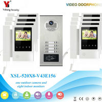 YobangSecurity Video Intercom 4.3 Inch Video Door Phone Doorbell Camera Monitor System RFID Access Control For 8 Unit Apartment
