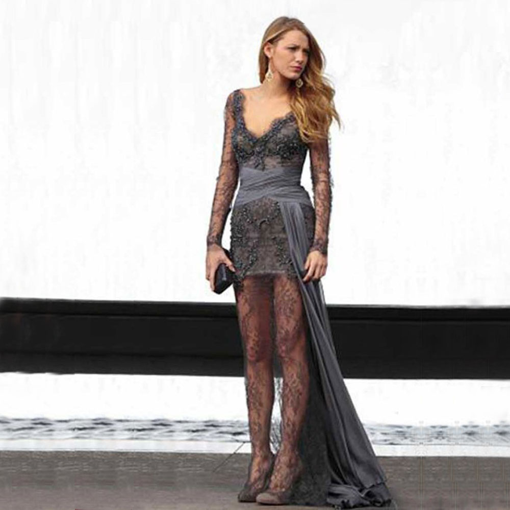 Red Carpet Dresses Gray Lace Long Sleeves Straight Celebrity Dresses 2019 V Neck Appliques Beaded Zipper Back Prom Dresses(China)
